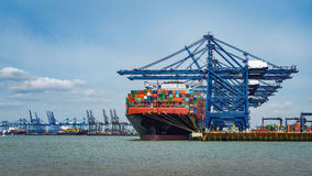 Navires porte-conteneurs amarrés à quai et chargement Image libre de droits