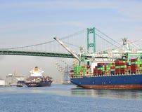 Navires porte-conteneurs, port de Los Angeles Image libre de droits