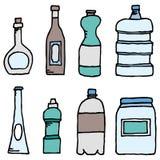 Navires réglés/liquides de bouteille de vecteur Illustration Stock