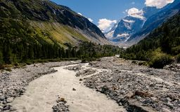 Navisence river in Val d` Anniviers, Switzerland. Glacier river Navisence flows throuth the Val d` Anniviers valley near Zinal in the Swiss canton Valais in royalty free stock photography
