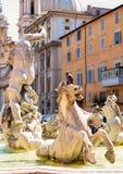 Деталь фонтана Нептуна на аркаде Navona в Риме Стоковая Фотография