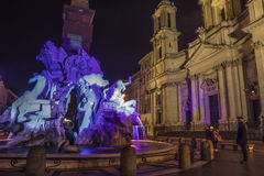 Navona square baroque roma by night Royalty Free Stock Photos