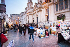 Navona square and  his street artist Royalty Free Stock Photos
