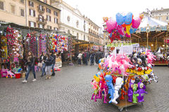 Navona Square in Rome during Christmas Stock Photos