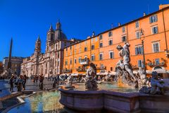Navona Square in Rome, Italy. Rome, Italy - April 5, 2019: Cityscape and generic architecture from Rome, the Italian capital. Navona Square stock photography