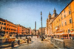 Navona Square in Rome, Italy. Rome, Italy - April 5, 2019: Cityscape and generic architecture from Rome, the Italian capital. Navona Square stock photo