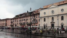 Navona Square Under The Rain Royalty Free Stock Photo