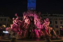 Navona vierkant barok 's nachts Rome royalty-vrije stock foto's