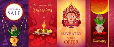 Navratri banner set, cartoon style stock illustration