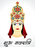Navratri Card Design With Devi G. Vector Illustration stock illustration