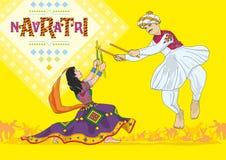 Navratri, Daandiyaa: Vector, Illustratie Royalty-vrije Stock Afbeelding