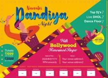 Navratri Dandiya夜印刷品模板 向量例证