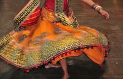 Dancing girl in action, Abstract of colorful costume with motion effect. Navratri is a Hindu festival, dedicated to the worship of Goddess Durga and her nine stock photo