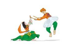 Navratri in Tri-colour Costume, Vector, Illustration Stock Photos
