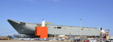 Navy. Australia`s Newest carrier HMAS Canberra is dock in Geelong, Victoria. It has traveled piggy-back style on the Worlds largest lifting ship the Blue Marlin Stock Photos