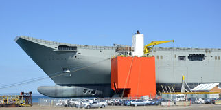Navy. The Australian Navy carrier HMAS Canberra, has traveled piggy-back s style on the worlds largest lifting ship the Blue Marilin. The Canberra's hull was Stock Photos