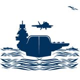 Navy. Military aircraft taking off from an aircraft carrier. Illustration on white background Stock Images