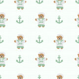 Navy anchor teddy  bear  seamless pattern Royalty Free Stock Photos