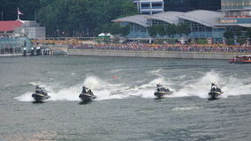 Navy assault boats giving chase during NDP 2012 Stock Photography
