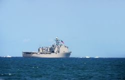Navy battleship out at sea Royalty Free Stock Photography