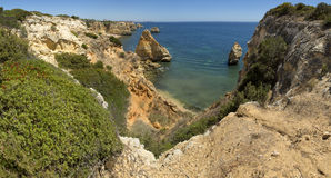 Navy Beach (Praia da Marinha) one of the most famous beaches of Portugal, located on the Atlantic coast in Caramujeira, Lagoa Muni Royalty Free Stock Photos