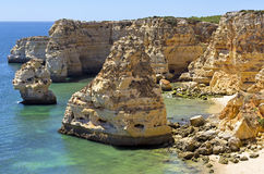 Navy Beach (Praia da Marinha) - one of the most famous beaches of Portugal, located on the Atlantic coast in Lagoa Municipality, A Royalty Free Stock Photo