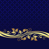 Navy blue Background decorated the elegant floral  Border. Stock Images