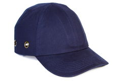 Navy blue baseball cap on white background, protection from sun Royalty Free Stock Photography