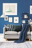 Navy blue blanket on couch. Navy blue blanket on grey couch with pillows in living room with lamps and gallery on wall royalty free stock photography