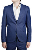 Navy blue checkered suit jacket on prom night for man. Deep blue mens checkered suit triple blazer with vest, isolated on white background Stock Photos