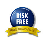 Navy blue circle label `Risk free - 100% Guarantee`. Shiny round button for money back. Colorful tag for web site or product pack design. Isolated on white Stock Image
