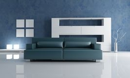 Navy blue couch and white empty bookshelf Royalty Free Stock Images