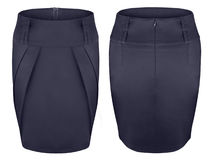 Navy blue elegant skirt with pleats front and back isolated on white Royalty Free Stock Images