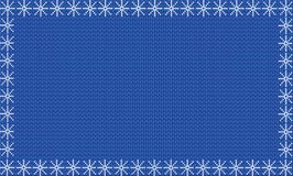 Navy blue fabric knitted background framed with white snowflakes Stock Photo