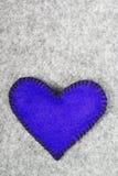 Navy blue felt heart Royalty Free Stock Image