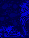 Navy blue floral background. With place for your text Royalty Free Stock Image