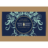 Navy blue floral wedding invitation card Royalty Free Stock Photography
