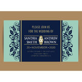 Navy blue floral wedding invitation card Stock Photos