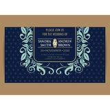Navy blue floral wedding invitation card Royalty Free Stock Images