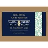 Navy blue floral wedding invitation card Stock Image