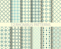 12 navy blue geometric rhombus  pattern 2. 12 rhombus patterns, Pattern Swatches, vector, Endless texture can be used for wallpaper, pattern fills, web page Royalty Free Stock Photography