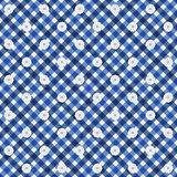 Navy Blue Gingham with Flowers Fabric Background. That is seamless and repeats Royalty Free Stock Photography
