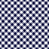 Navy Blue Gingham Seamless Pattern. Diagonal navy blue and white gingham seamless pattern Stock Images