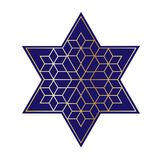 Navy blue and gold Jewish star Royalty Free Stock Photo