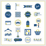 Navy blue and golden SALE and retail icons set Royalty Free Stock Images