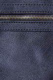 Navy blue leather with zipper Stock Photo