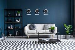 Navy blue living room interior stock photo