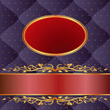 Navy blue and maroon background. With gold ornaments Royalty Free Stock Photography