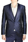 Navy blue mens wedding dress, groom attire, blazer, vest. Stock Photo