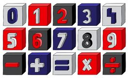 Navy Blue numbers from 0 to 9 with mathematical operations on blocks.  Royalty Free Stock Photos